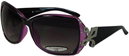 Bling Oversize Sunglasses with Fleur de Lis UV400 Polycarbonate Lens - Sun Branded Glasses