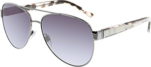 Burberry BE3084 12278G Gunmetal BE3084 Aviator Sunglasses Lens Category 3 - Burberry Aviator Sunglasses