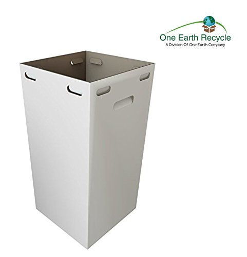 One Earth Disposable And Reusable Corrugated Cardboard Trash Cans- Bundle of 10 Boxes + 10 Trash Bags (White): 40 Gallons