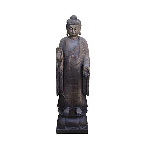 Golden Lotus Chinese Dark Gray Stone Carved Standing Abhaya Mudra Buddha Statue Acs4271