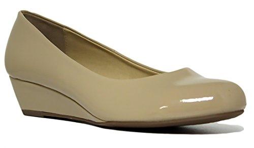 Ville Classé Confort Chaussures Femmes Bout Rond Talon Bas Wedges Mve Chaussures, Beige Pat