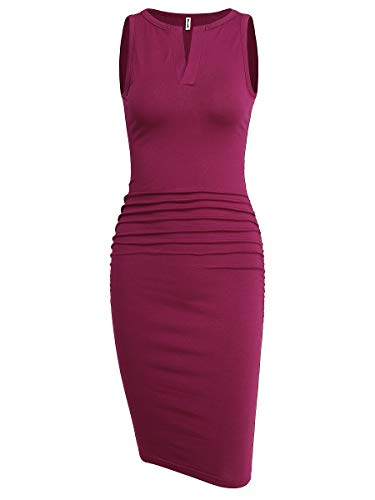 Tank Sheath - Missufe Women's Sleeveless V Neck Casual Ruched Sundress Sheath Tank Midi Bodycon Dress (Purple-01, Large)