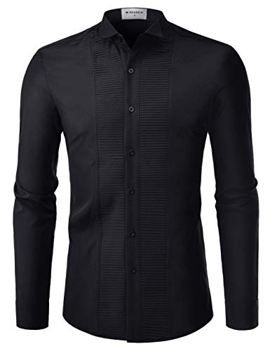 NEARKIN (NKNKS660 Adorable Mens Wrinkle Free Stretchy Fitted Dress Shirts Black US XXL(Tag Size 2XL)