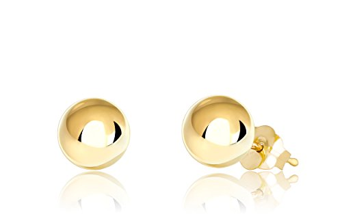 Premium 14K Yellow Gold Ball Stud Earrings (6mm - Yellow Gold)