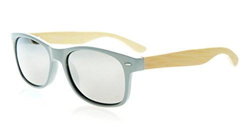 Eyekepper Quality Spring Hinges Bamboo Wood Arms Classic Womens Polarized Sunglasses Silver Mirror - Sunglasses Mirror Coated