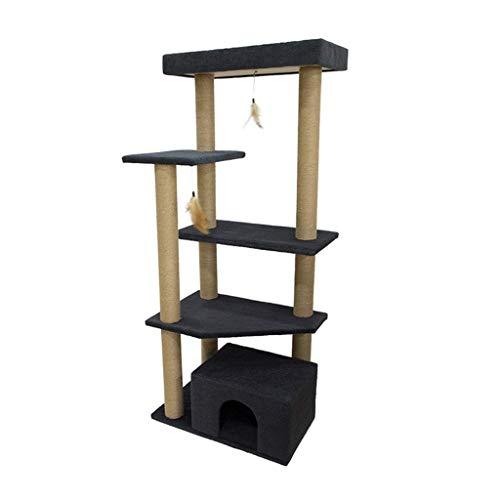 FTFDTMY Pet Shop Cat Climbing Frame, großer mehrschichtiger Kratzbaum Einteiliges Multifunktions-Katzenkratzbrett (Farbe: Navy)