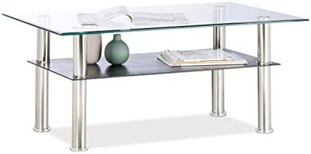 Beste Authentiek Relaxdays, doorzichtige salontafel glas, 2 planken, laag, transparant tafelblad, roestvrijstalen poten, 100 x 60 x 43 cm, standaard  n9NwcMN