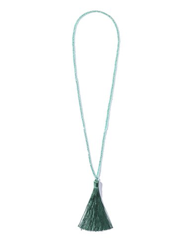 NeeMee 1920's Flapper Great Gatsby Inspired Vintage Beaded Tassel Long Pendant Necklace (Green)