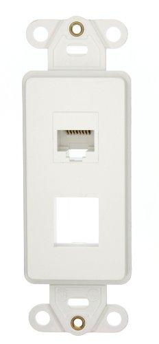 Leviton 41668-W Decora Telephone Wallplate Insert, 6P6C X 8P8C, 110 Style, White 6p6c Faceplate