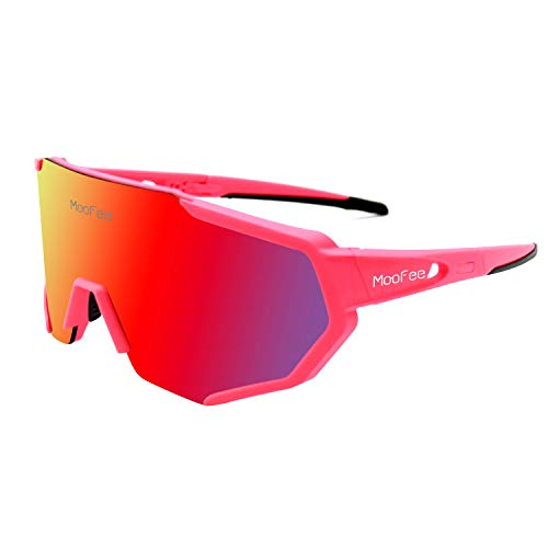MooFee Cycling Glasses Sports Polarized Sunglasses for Men Women Riding Fishing Golf Baseball Running Glasses (Pink ()