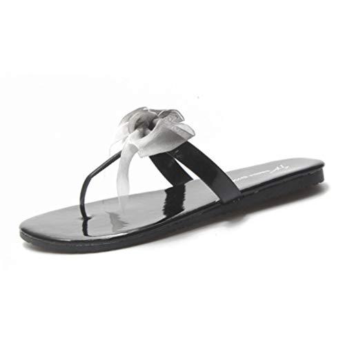 (Sam Carle Women's Flip Flops Clip Toe Waterproof Wear Resistant Bow-Knot Flat Casual Seaside Holiday Slipper Black)