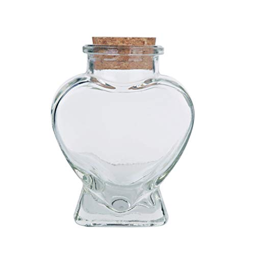 (Heart Shaped Glass Jar Favor Bottle with Cork, 3-1/4-Inch by Party Spin )