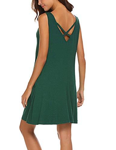 LuckyMore Women's Sleeveless Cross-Back Shift Mini Dress Dark Green M