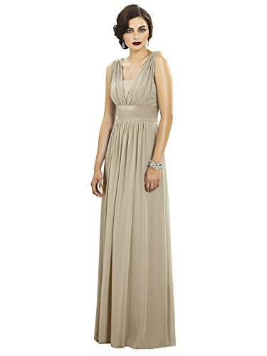 (Women's Full Length Chiffon Dress with V-neck and Matte Satin Bodice by Dessy - Palomino - Size 18)