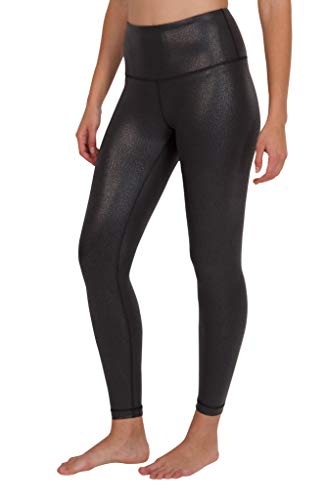 Faux Sparkles - 90 Degree By Reflex - Performance Activewear - Printed Yoga Leggings - Black Foil Print - XS