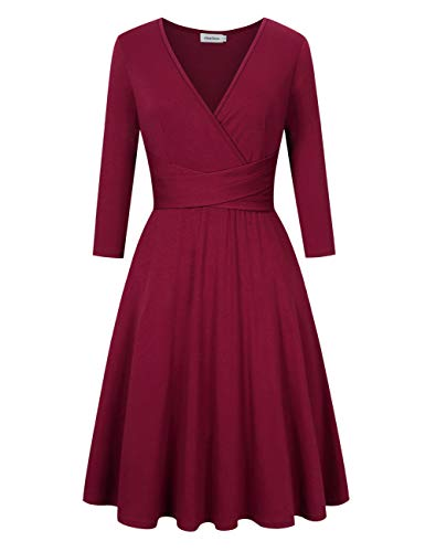 Sleeveless Neck Waist Party Plus Empire Cocktail Women Red V 4wine Summer 3 Fit Ruched Dress Sun Size gqEw0F0I