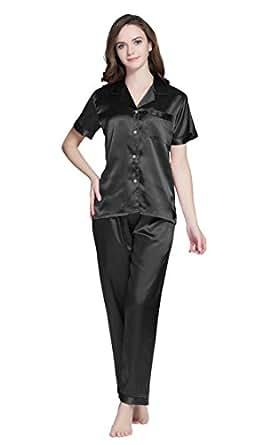 Tony & Candice Women's Satin Pyjama Set Short Sleeve Sleepwear/Nightwear (Small, Black)