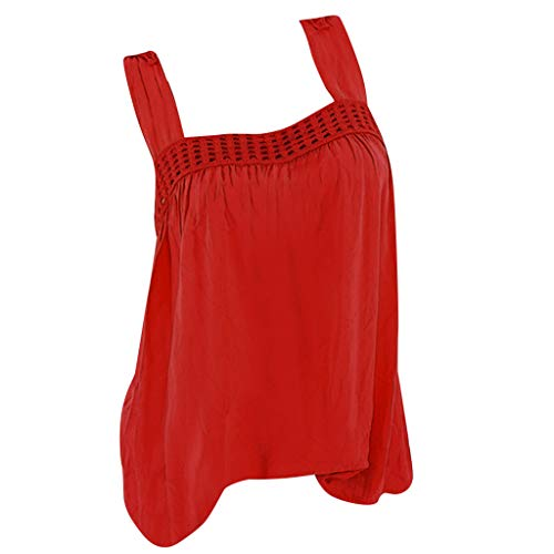 Women Blouse Shirt Dress, Alonea Hot Outfit Tops Back Butterfly Lace Stitching Sleeveless Vest Camisole Red