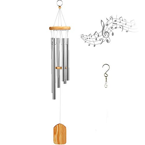 Wind Chimes with S Hook for Porch Home Garden Decor Indoor and Outdoor (Silver - Agate Angel