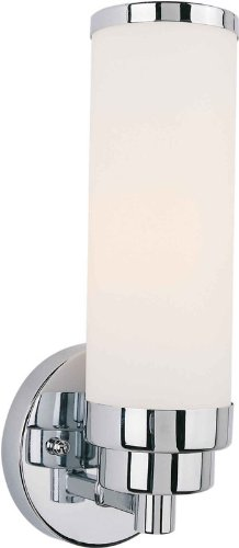Bath Bracket Forte Lighting - Forte 50012-01-05 One Light Bath Bracket, Chrome Finish Satin Opal Glass