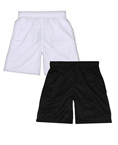 Galaxy by Harvic Boys Active Mesh Short, Black/White, X-Large 18' (Striped Basketball Shorts Mesh)
