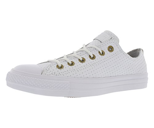 - Converse Womens Chuck Taylor All Star Perforated Leather White/Biscuit/White Sneaker - 11 Men - 13 Women