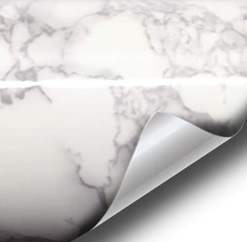 VViViD Grey White Marble Gloss Roll Sheet Film 24 Inch (Medium Sized) Roll (24 Inch x 60 Inch)