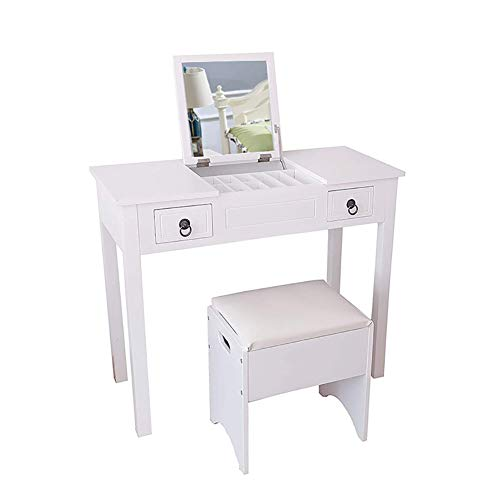Vanity Set, Flip-top Mirror Dressing Table Makeup Vanity Table Set, Storage Stool with 3 Movable Organizers 2 Drawers Easy Assembly, 35.5x15.7x29.5 Inches, - Inch Light Wide Bathroom 35.5