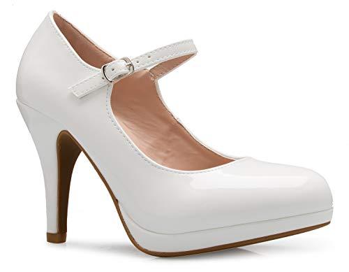 - OLIVIA K Women's Mary Jane High Heel - Cute Round Toe Block Heel - Classic Comfortable Easy Dress Shoe White
