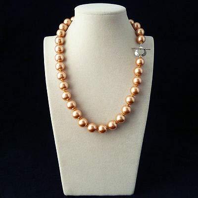 FidgetKute Genuine 12mm South Sea Shell Pearl Necklace Fashion Jewelry AAA Dark ()