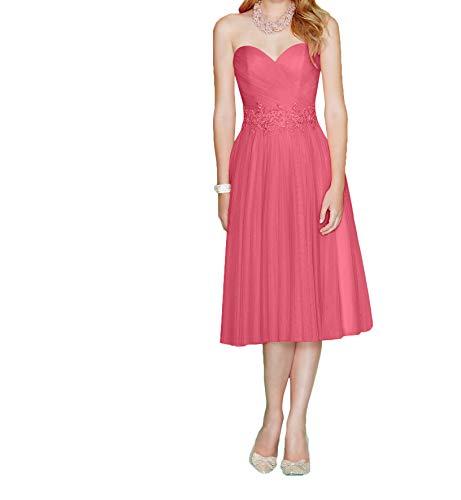 2019 Pfirsisch La Herzausschnitt Partykleider Abendkleider Wassermelon Festlichkleider Marie Ballkleider Knielang Braut AFZZqxtE
