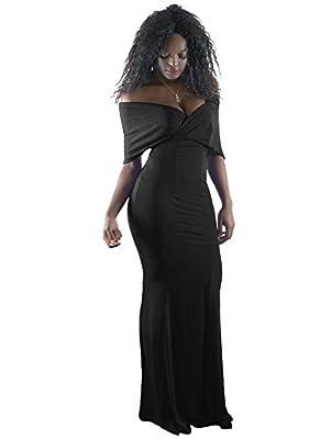 BEAGIMEG Women's Off Shoulder V Neck Half Sleeve Bodycon Maxi Evening Dress