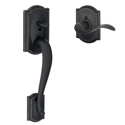 Schlage FE285-CAM-ACC-CAM-LH Camelot Lower Handle Set for Electronic Keypad with, Aged Bronze