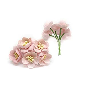 """1"""" Light Pink Cherry Blossoms, Mulberry Paper Flowers with Wire Stems, Mauve Paper Flowers, Miniature Flowers, DIY Wedding, Wedding Decor, Artificial Flowers, 25 Pieces 2"""