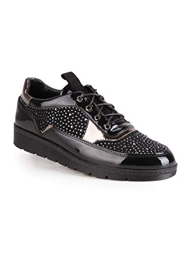Con Strass Ecopelle Donna Nero Sneakers ORxnwZaqw