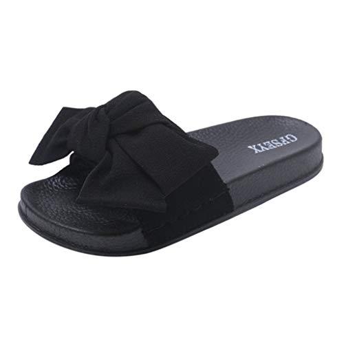 AOJIAN Shoes Women's Sandals Indoor Outdoor Bow Knot Pump Flats Flip Flop Slide Slipper Clog Mule Black -
