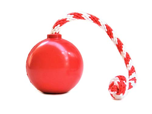 SodaPup USA-K9 - Natural Rubber Cherry Bomb Chew Toy - Tug Toy - Retrieving Toy -Treat Dispenser - for Heavy Chewers - Made in USA - Red - Medium