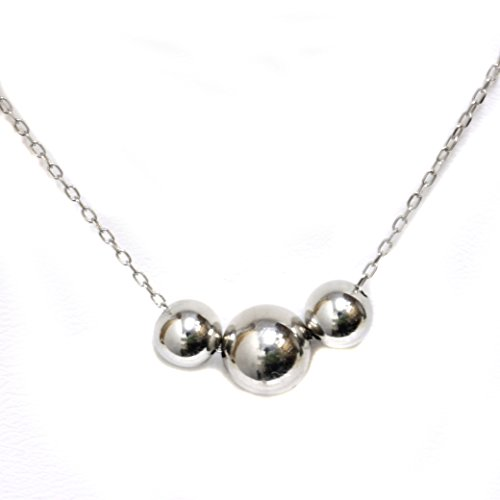 Strand 14k Three Gold (Seven Seas Pearls 14k Yellow White Rose Gold - Three Bead Ball Station Necklace, 16
