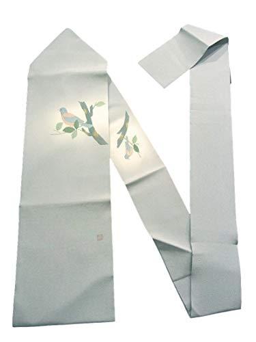 窓グリル測定リサイクル 名古屋帯   小鳥 縮緬   正絹 お太鼓柄