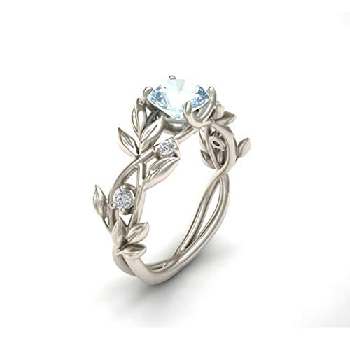 HOTSKULL 925 Sterling Silver Floral Ring Aquamarine&Emerald&Pink Sapphire&Blue Sapphire&Clear Diamond Jewelry Lucky Flower Vine Leaf Rings Wedding Band (Aqua, 8)
