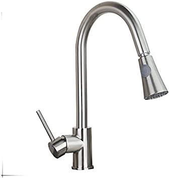 Weixintech Good Quality Nickel Brushed Pull Out Kitchen Faucet Two Function Vessel Sink Mixer Tap Single Handle Hole Kitchen Faucet Taps Amazon Com
