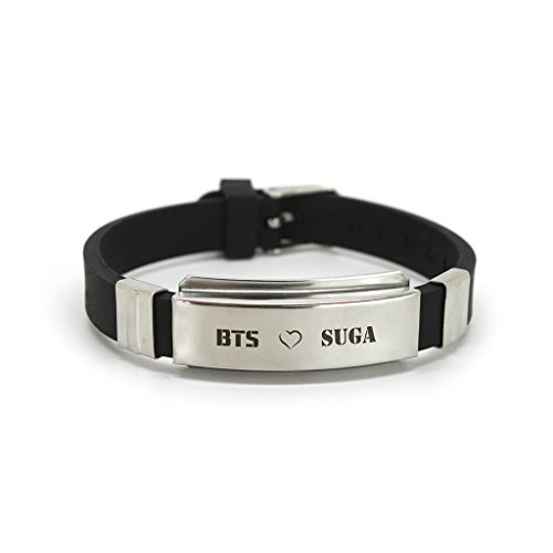 Fanstown BTS Kpop Stainless Steel Silicon Wristband Anti-Rust and Water Prove with lomo Cards (A SUGA)