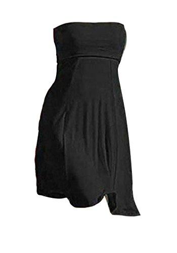 Femme Robe de Plage Sans Manches Dos Nu Couleur Unie Maillot De Bain Jupe Casual Noir