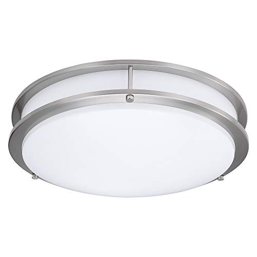 (6 Pack) 15-Inch Double Ring Dimmable LED Flush Mount Ceiling Light, 22W (100W Equivalent), 1800lm, 4000K Natural White, Brushed Nickel Finish with Plastic Shade, ETL Listed, Commercial or Residential