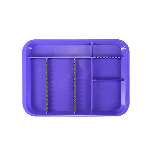 Easyinsmile Autoclavable Dental Instrument Tray Plastic Tray with Transparent Cover 1pcs/pack (Divided B(L), Purple)