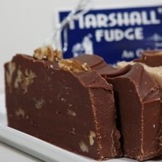 Marshall's Mackinac Island Fudge Two Slice Assortment Gift Box (1 Pound) Plain Chocolate, Chocolate English Walnut