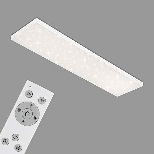 Briloner Leuchten - Panel LED, lámpara de techo regulable, plafón con borde luminoso, decoración de estrellas, control de temperatura de color, 38 vatios, 3800 lúmenes, blanco, 1195x295x69 mm
