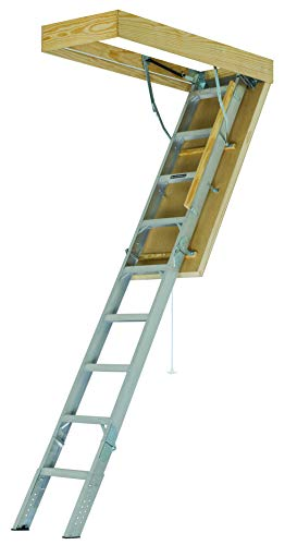 Louisville Ladder 22-1/2 x 54-Inches Elite Aluminum Attic Ladder WITH insulated door with R-10 extruded foam, 375 Pound Load Capacity, Type IAA, AEE2210 ()