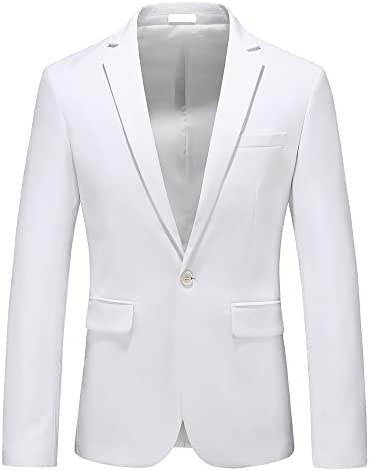 Man's Slim Fit Casual One Button Notched Lapel Turn-Down Collar Blazer Jacket