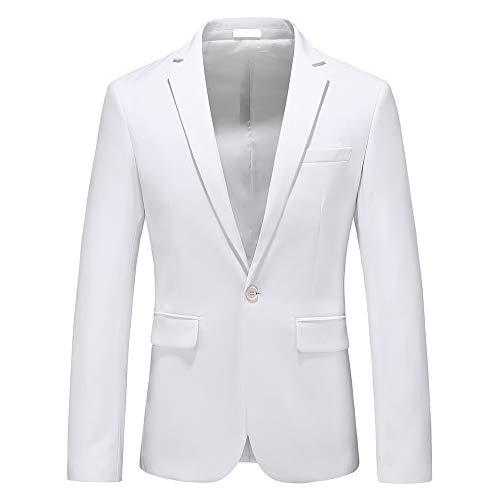 Man's Slim Fit Casual One Button Notched Lapel Turn-Down Collar Blazer Jacket US Size 44 (Label Size 6XL) White (White Men Blazer Jacket)
